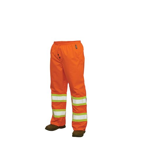 Hi-Vis Rain Pant With Safety Stripes Fluorescent Orange Small