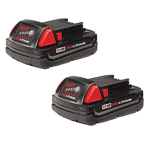 Milwaukee Tool M18 18V Lithium-Ion Compact (CP) 1.5 Ah REDLITHIUM Battery (2 Pack)