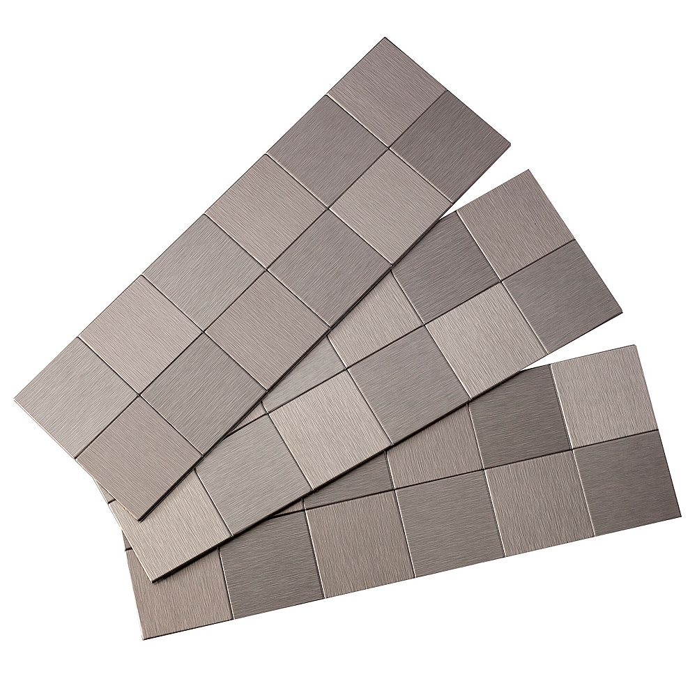 Aspect 2 Inch x 2 Inch Square Matted Peel and Stick Tiles, Brushed Stainless, (3-Pack)