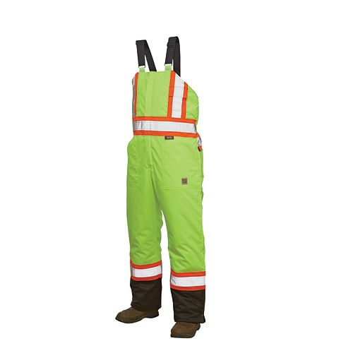 Hi-Vis Lined Bib Overall With Safety Stripes Yellow/Green Medium