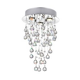 12-inch x 18-inch Crystal Rain Drop Chandelier in Polished Chrome