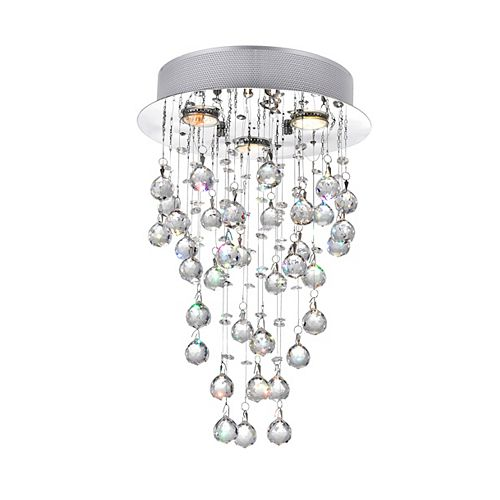12-inch x 18-inch Crystal Rain Drop Chandelier in Polished Chrome