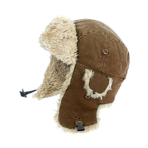 Chapeau daviateur en toile brun m