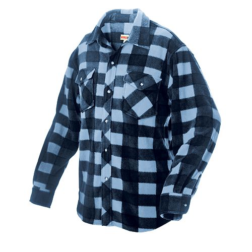 Plaid Solar Fleece Shirt Blue X Large