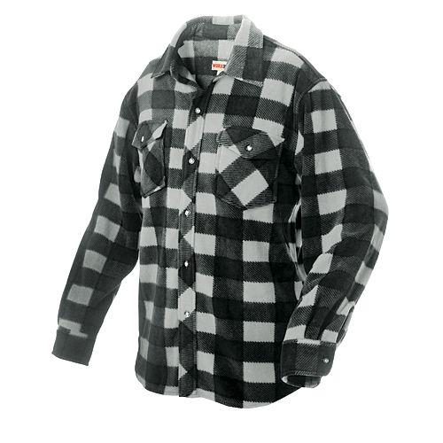Chemise à carreaux en molleton— gris m
