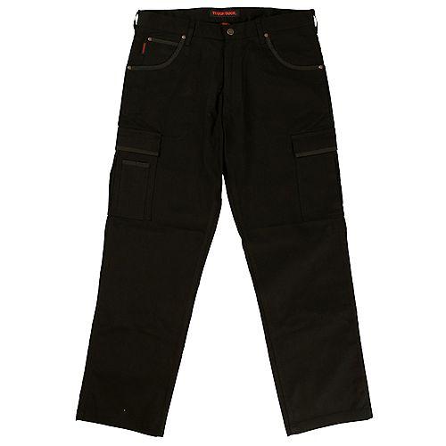 Pantalon de travail cargo en twill extensible— noir 32t-32l