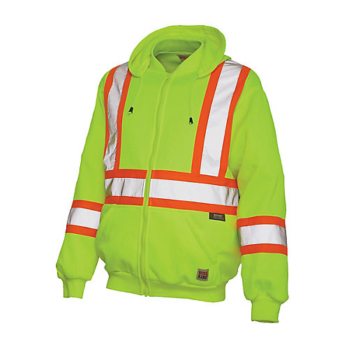 Hi-Vis Zip Front Hoodie With Safety Stripes Yellow/Green Small