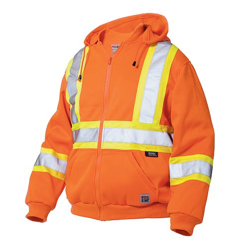 Hi-Vis Zip Front Hoodie With Safety Stripes Fluorescent Orange Large