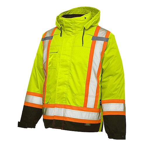 Hi-Vis 5-In-1 System Jacket With Safety Stripes Yellow/Green Large