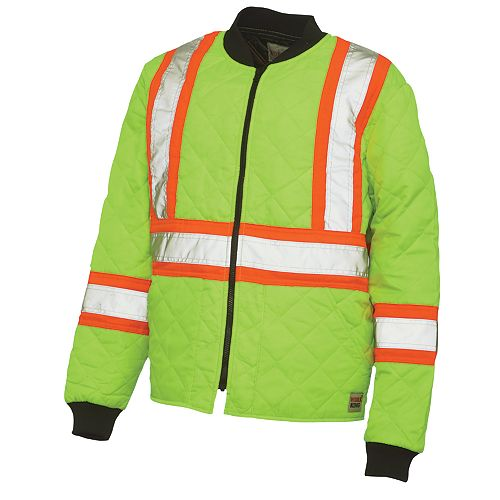 Quilted Safety Jacket With Stripes Yellow/Green Small