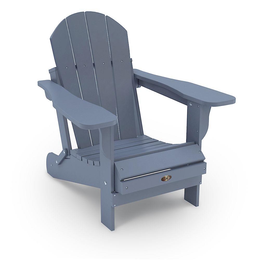 Leisure Line Patio Leisure Line Recycled Plastic Folding Adirondack Chair - Grey