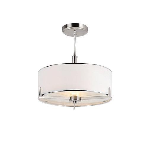 Semi Flushmount Light Fixture in Nickel and Linen