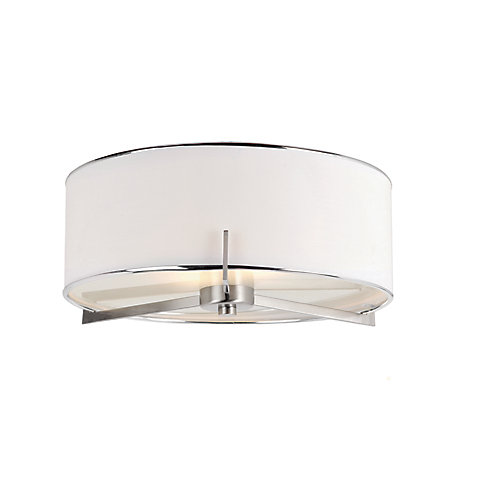 Ashley 2-Light 15-inch Round 60W Brushed Nickel Flushmount Light Fixture with Linen Shade