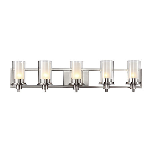 5-Light Bath Vanity Light Fixture in Nickel with Clear and Frosted Glass