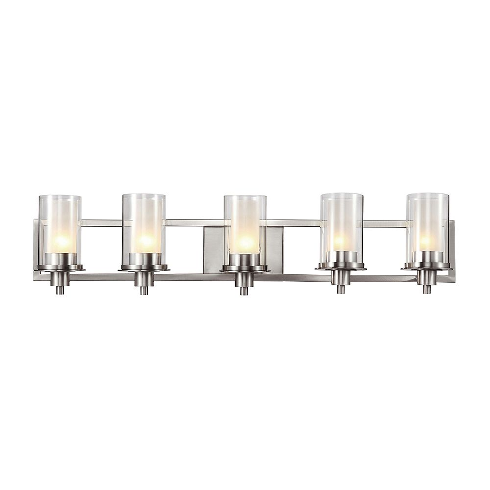 Bel Air Lighting 5-Light Bath Vanity Light Fixture in Nickel with Clear and Frosted Glass
