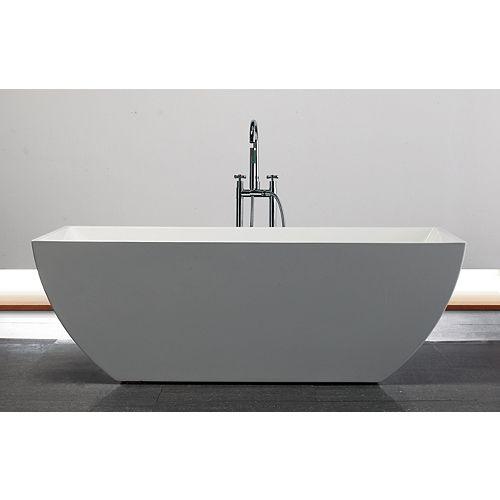 Jade Bath Grace 67 inch Acrylic Rectangular Freestanding Soaker Bathtub in White