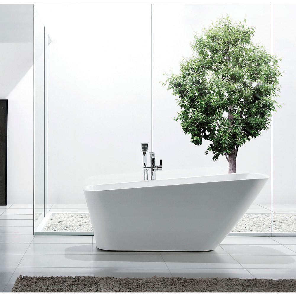 Jade Bath Aleah 67 inch Acrylic Freestanding Soaker Bathtub in White