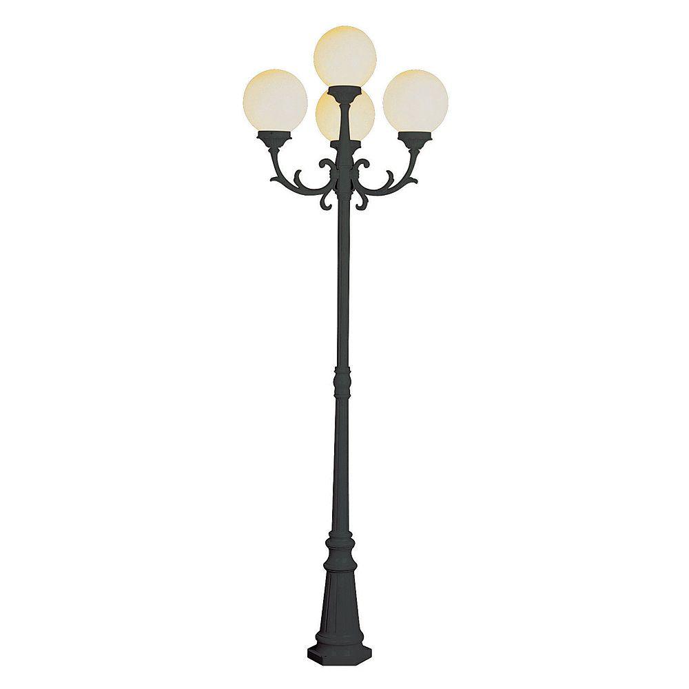Bel Air Lighting Lampadaire à globes de verre blanc, noir