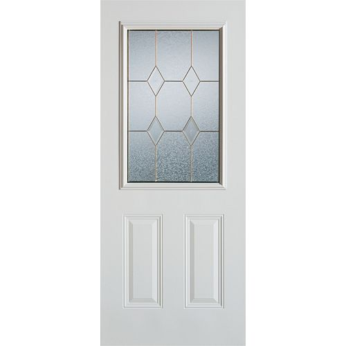 37.375 inch x 82.375 inch Tulip Zinc 1/2 Lite 2-Panel Prefinished White Right-Hand Inswing Steel Prehung Front Door