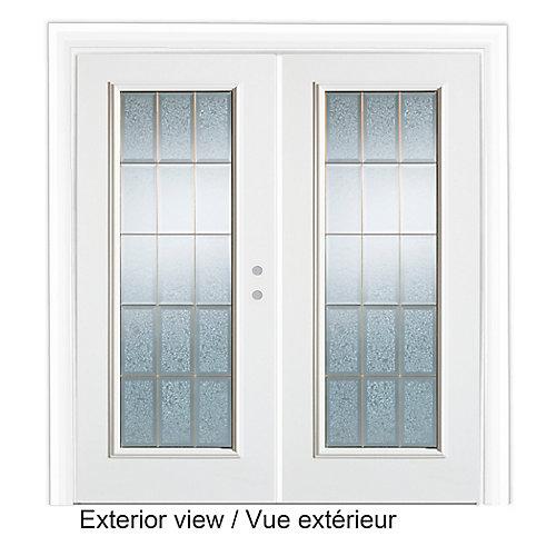 Porte de Jardin 6 pieds avec verre décoratif-ouverture porte Gauche