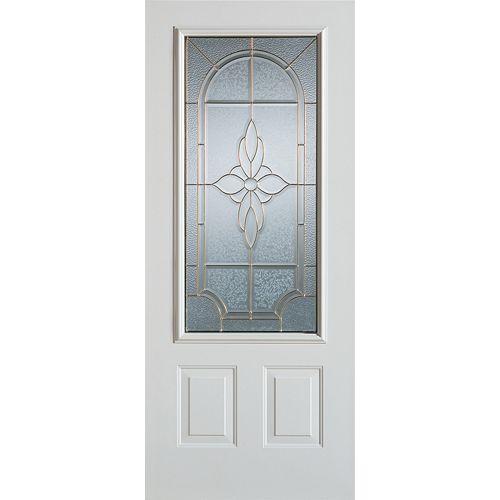 35.375 inch x 82.375 inch Trellis Patina 3/4 Lite 2-Panel Prefinished White Left-Hand Inswing Steel Prehung Front Door
