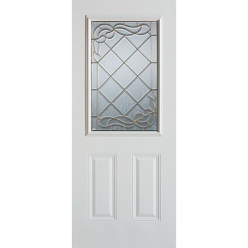 35.375 inch x 82.375 inch Queen Anne Patina 1/2 Lite 2-Panel Prefinished White Left-Hand Inswing Steel Prehung Front Door