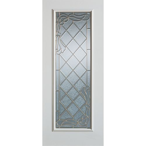 35.375 inch x 82.375 inch Queen Anne Patina Full Lite Prefinished White Right-Hand Inswing Steel Prehung Front Door