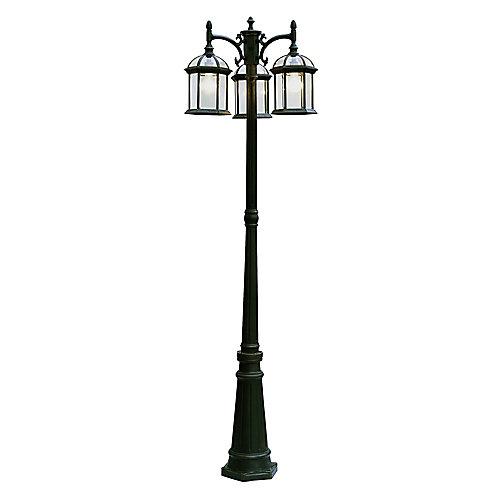 Lampadaire à 3 lumières, facettes en verre et armature, noire