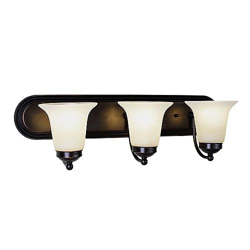 Bel Air Lighting Oiled Bronze with Marble Glass 3 Light Vanity