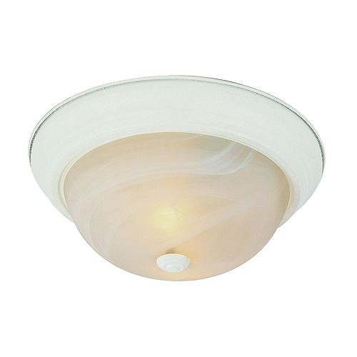 Bel Air Lighting White and Marbled 13 inch Flush Mount