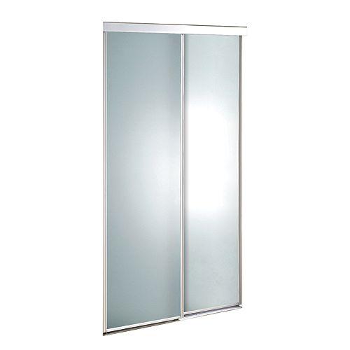 Porte verre givré 48 pouces encadrement de métal blanc, coulissante Euroframe