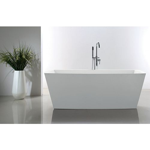 Connie 67 inch Acrylic Rectangular Freestanding Soaker Bathtub in White