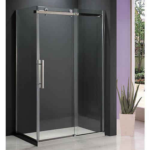 Porte de douche coulissante en verre clair 8mm avec panneau de retour Riga II 36 po. x 48 po.