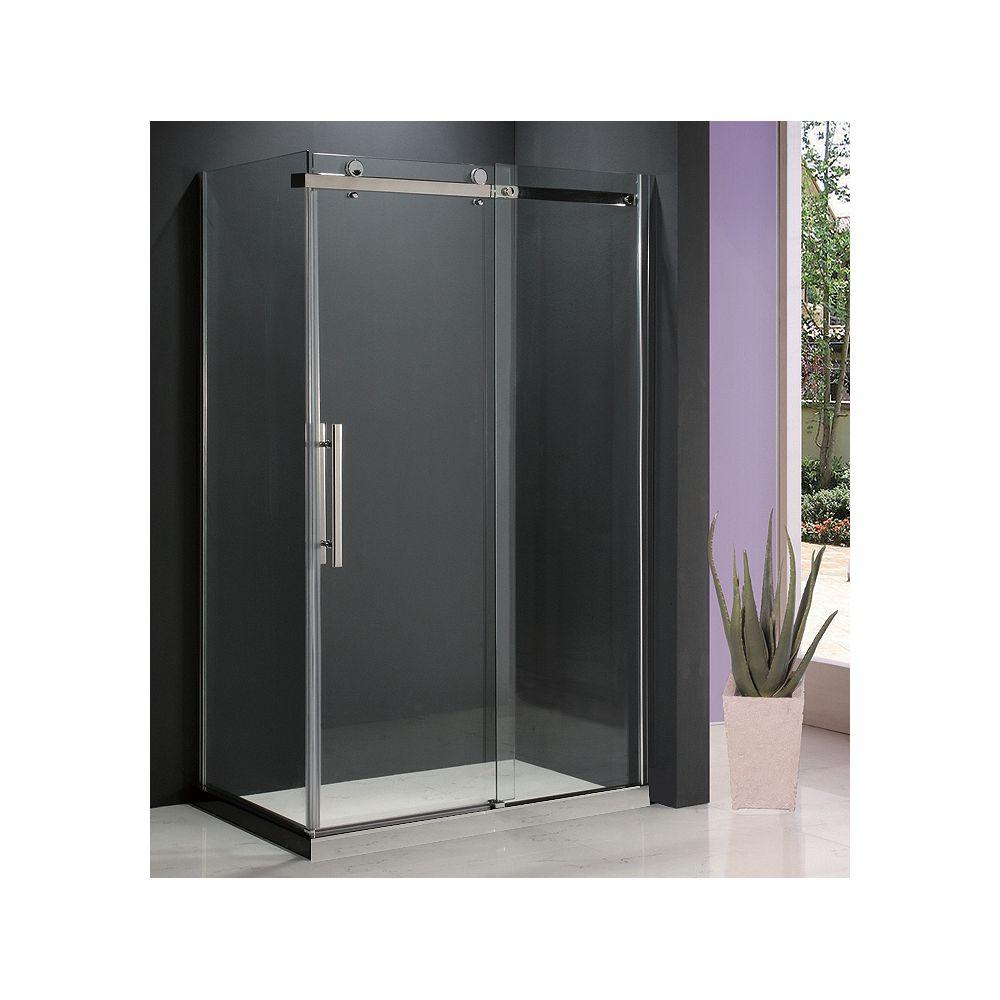 Jade Bath Porte de douche coulissante en verre clair 8mm avec panneau de retour Riga II 36 po. x 48 po.