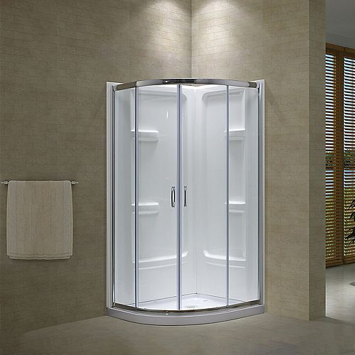 Tribeca 38-Inch  Sliding Shower Door with Base and Walls