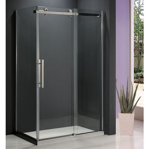 Riga II 36-Inch  x 48-Inch  Shower Door with Return Panel and Base