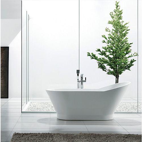 Jade Bath Celine 67 inch Acrylic Oval Freestanding Soaker Bathtub in White