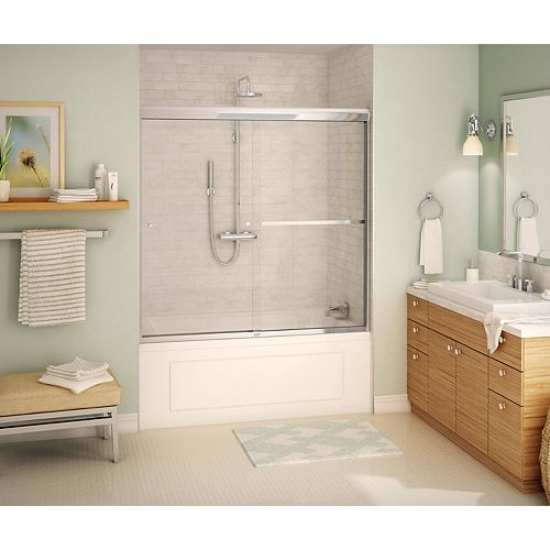 Noble Tub Door 60-inch Clear Glass - Chrome, 8 mm, Soft Close