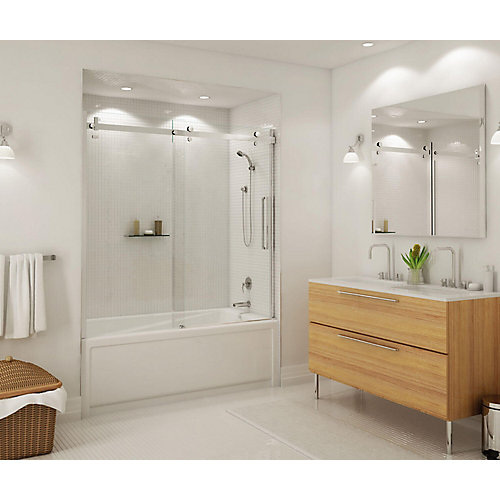 Halo 60-inch Frameless Glass Sliding Door for Tubs