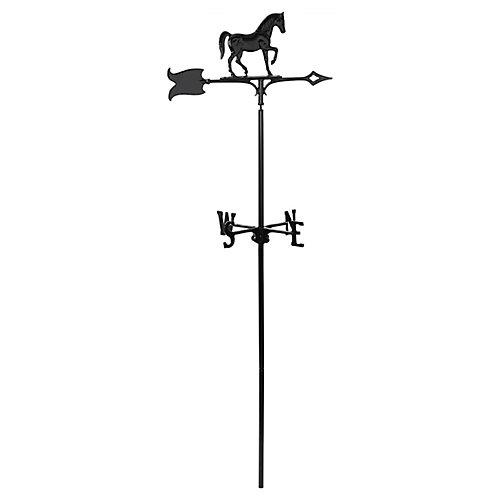 Le cheval - la Girouette de Jardin - Noir