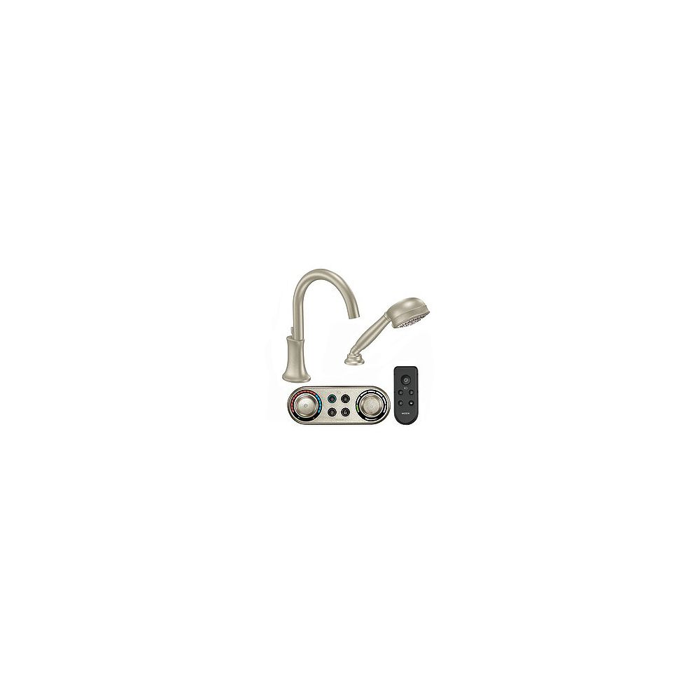 MOEN Icon High Arc Roman Bath Faucet with Hand Shower in Brushed Nickel Finish