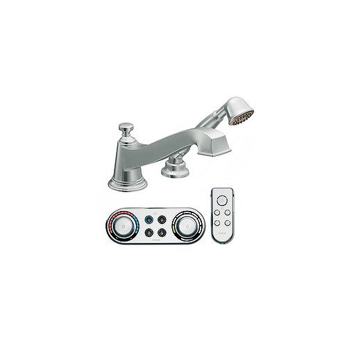 MOEN Rothbury Roman Bath Faucet with Hand Shower and IoDIGITAL Technology in Chrome Finish
