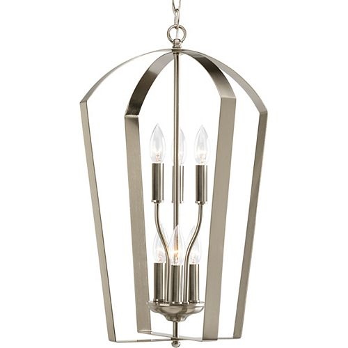 Progress Lighting Gather Collection Brushed Nickel 6-light Foyer Pendant