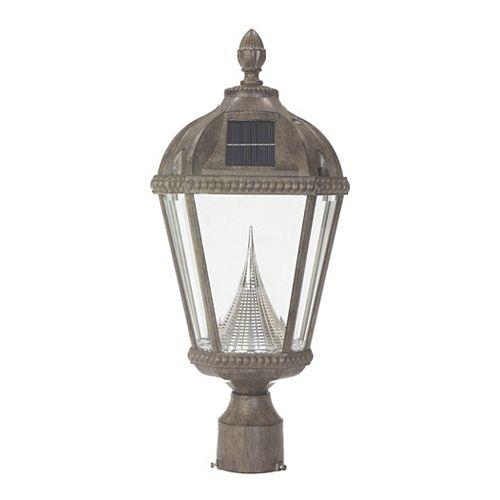 Lampe d'extérieur solaire en bronze patiné sur support de montage de 3 pouces.