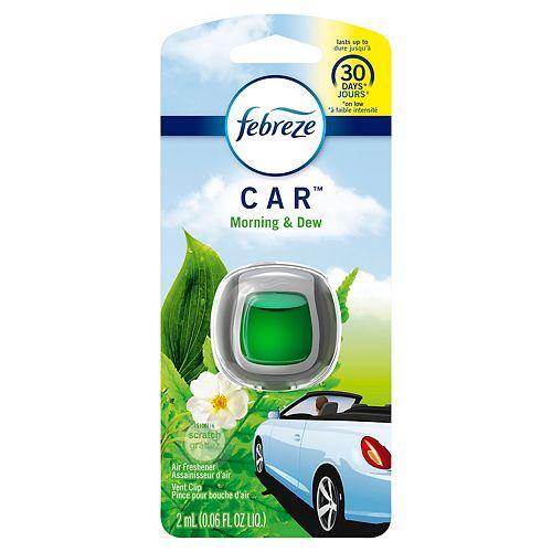Febreze Assainisseur d'air sous forme de pince pour bouche d'air Febreze Car, parfum Meadows & Rain, 1 unité