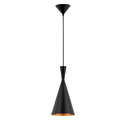 Luminaire suspendu noir dintérieur à une ampoule, collection Bronx