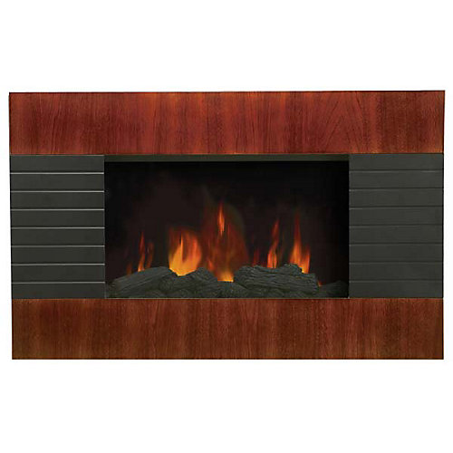 Electric Wall Mounted Fireplace - Mahogany Effect Wood Panel Design, Slim
