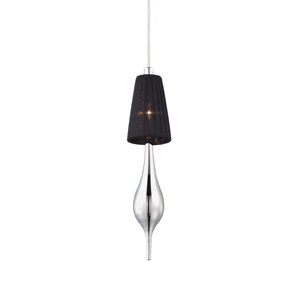 Eurofase Aqua Collection 1 Light Chrome Pendant with Black Shade and Chrome Glass