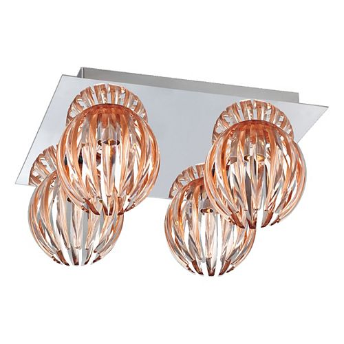 Eurofase Cosmo Collection 4 Light Chrome & Amber Flushmount