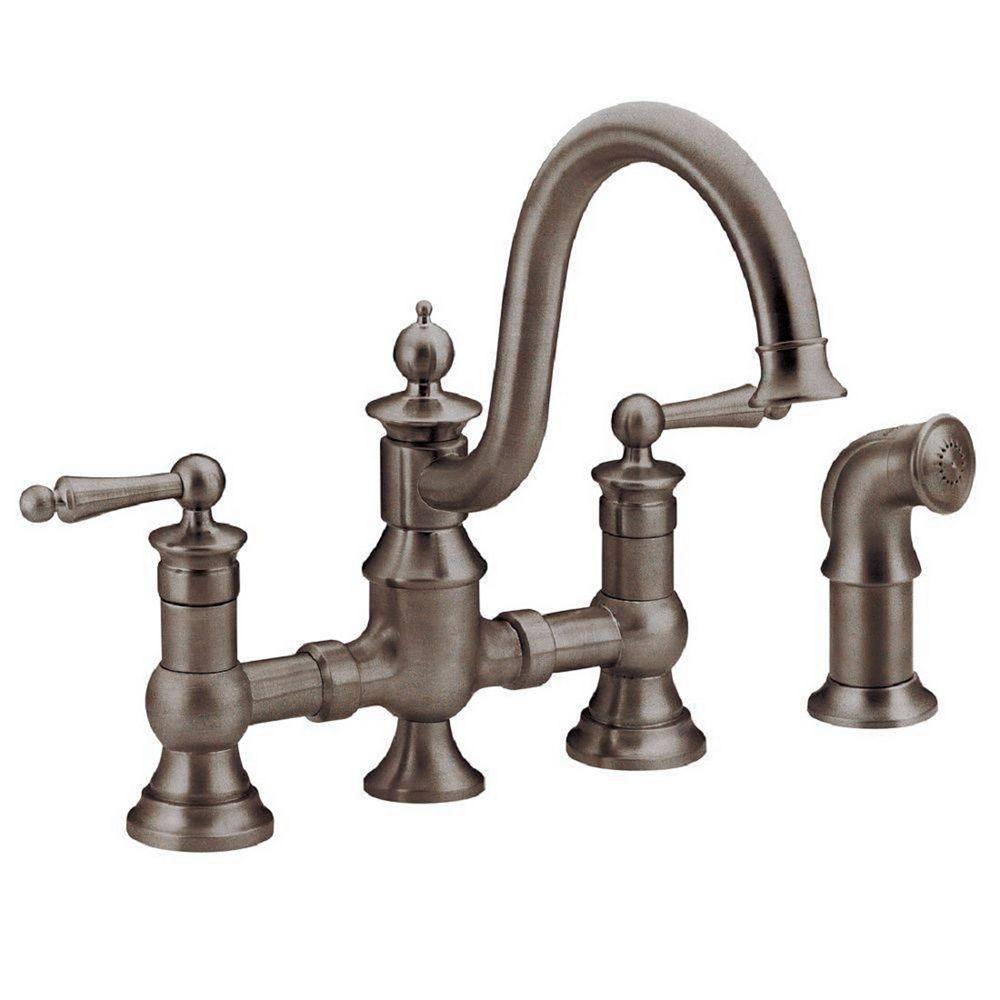 MOEN Waterhill 2-Handle High-Arc Side Sprayer Bridge Kitchen Faucet in Oil-Rubbed Bronze
